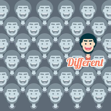 Different man in many people. contrast. man with beard. character design. flat design modern vector illustration concept.