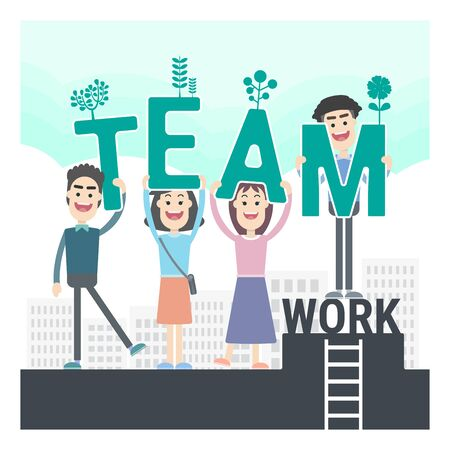green teamwork. businessman and working woman with excellent cooperation for reach the highest point together