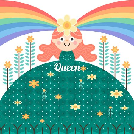 queen of colorful forest. create moisture for nature. beautiful world with trees and flowers. Rainbow of life. The woman who brightens the world. flat design vector illustration concept Foto de archivo - 130048364