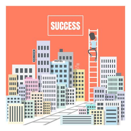 stairway to SUCCESS. Where there's a will, there's a way!. climb to the top point for your dream. business competition in big city. flat design modern vector illustration concept