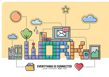 WORK Everything is Connected. flat design modern vector illustration concept idea 写真素材 - 130047888