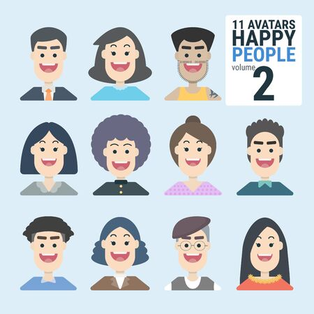 Variety of human 11 Avatars Happy PEOPLE. Man and woman for your business work. With a variety of characters including face, dress, and unique style as if collecting characters for your various uses. You can choose and can be used easily. flat design modern vector illustration concept. Фото со стока - 130047927