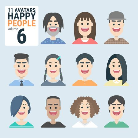 Variety of human 11 Avatars Happy PEOPLE. Man and woman for your business work. With a variety of characters including face, dress, and unique style as if collecting characters for your various uses. You can choose and can be used easily. flat design modern vector illustration concept. Фото со стока - 130047988