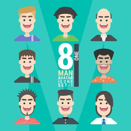 8 Man Avatar icons.Variety of Young People. With a variety of characters including face, dress, and unique style as if collecting characters for your various uses. You can choose and can be used easily. flat design modern vector illustration concept. Фото со стока - 130047993