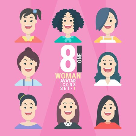 8 Woman Avatar icons.Variety of Young People. With a variety of characters including face, dress, and unique style as if collecting characters for your various uses. You can choose and can be used easily. flat design modern vector illustration concept. Фото со стока - 130048051