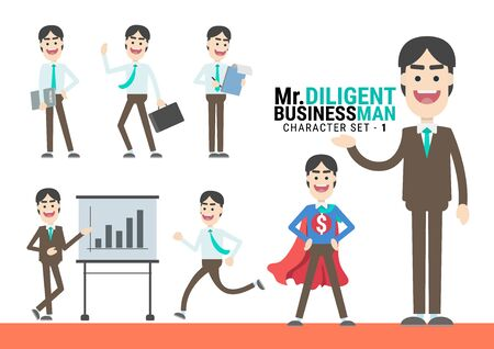 Mr.Diligent. The Businessman Character set. A variety of activities in the daily lives of young businessmen Фото со стока - 130046902