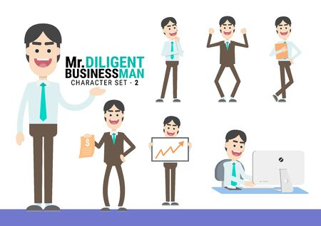Mr.Diligent. The Businessman Character set. A variety of activities in the daily lives of young businessmen Иллюстрация