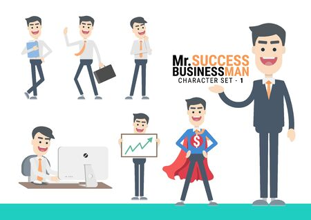 Mr.Success. The Businessman Character set. A variety of activities in the daily lives of young businessmen Фото со стока - 130046936