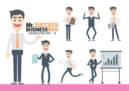 Mr.Success. The Businessman Character set. A variety of activities in the daily lives of young businessmen Иллюстрация