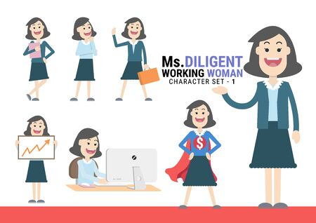 Ms.Diligent. The Working woman Character set. A variety of activities in the daily lives of young working women 向量圖像