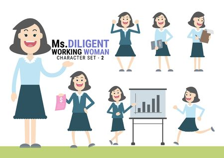Ms.Diligent. The Working woman Character set. A variety of activities in the daily lives of young working women Иллюстрация