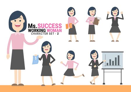 Ms.Success. The Working woman Character set. A variety of activities in the daily lives of young working women