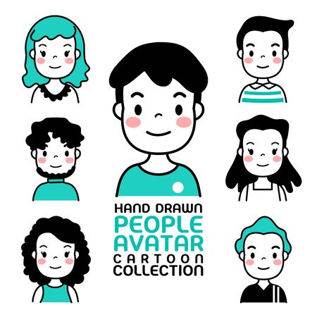 Hand Drawn people avatar cartoon collection. Man and woman for your business work. Фото со стока - 130046959