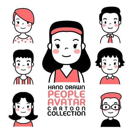 Hand Drawn people avatar cartoon collection. Man and woman for your business work. With a variety of characters including face, dress, and unique style as if collecting characters for your various uses. Фото со стока - 130046973