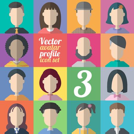 Vector avatar profile icon set - set of flat abstract and people icons. Man and woman for your business work.