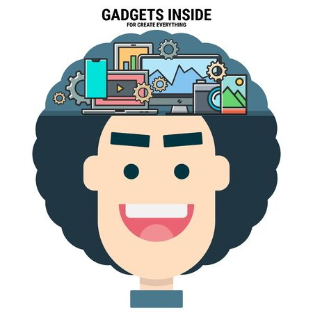 gadgets inside my brain for create everything. variety devices. intelligent creator. graphic designer. modern technology. smart character. flat design vector illustration concept.