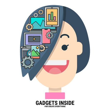 gadgets inside my hair for create everything. variety devices. intelligent creator. graphic designer. modern technology. smart character. flat design vector illustration concept. Illustration