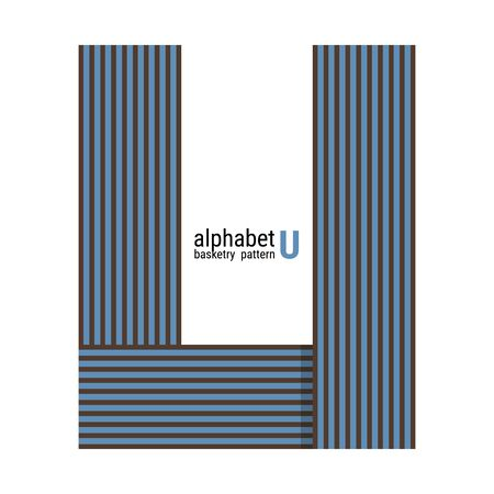 A unique alphabet shape design with basketry pattern. This is a simple vector illustration with harmonious blend of retro and modern styles. The color can be changed if needed.  イラスト・ベクター素材