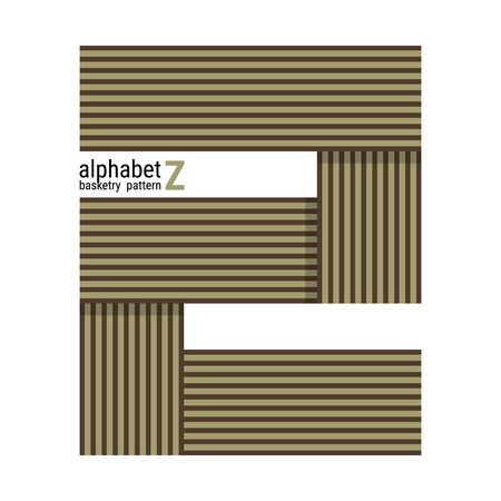 A unique alphabet shape design with basketry pattern. This is a simple vector illustration with harmonious blend of retro and modern styles. The color can be changed if needed. Ilustração