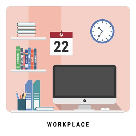happy WORKPLACE. Simple work space at home or office. Monitor, computer, book and stationary. flat design modern vector illustration concept