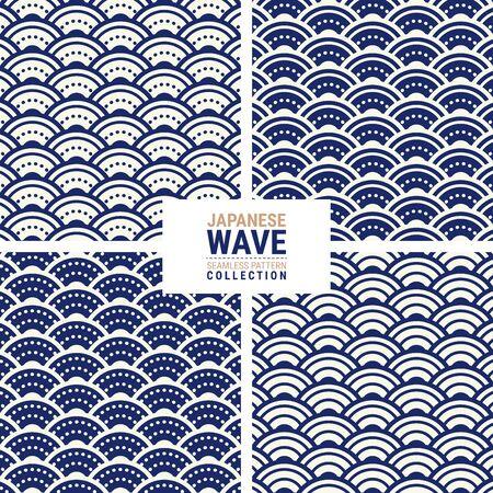Japanese wave seamless pattern collection. This is a simple vector illustration with harmonious blend of retro and modern styles. The color can be changed if needed. 写真素材 - 134584283