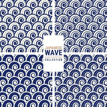 Japanese wave seamless pattern collection. This is a simple vector illustration with harmonious blend of retro and modern styles. The color can be changed if needed.
