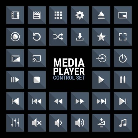 Media player control icon set for designers in the design of all kinds of works. Beautiful and modern icon which can be used in many purposes