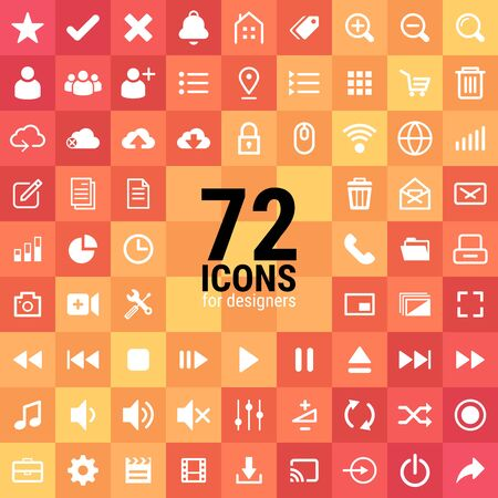 72 excellent icons for designers in the design of all kinds of works. Beautiful and modern icon which can be used in many purposes