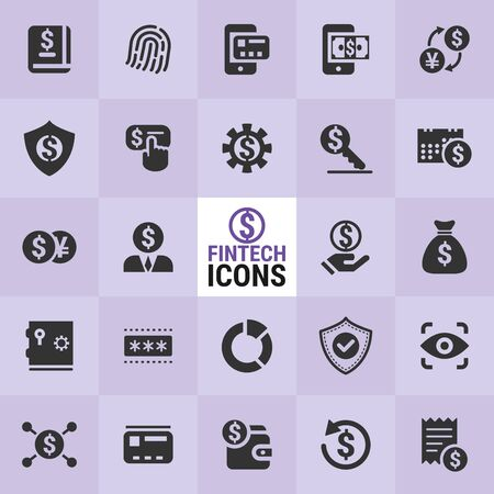 Excellent FinTech icons for designers in the design of all kinds of works. Beautiful and modern icon which can be used in many purposes.  イラスト・ベクター素材