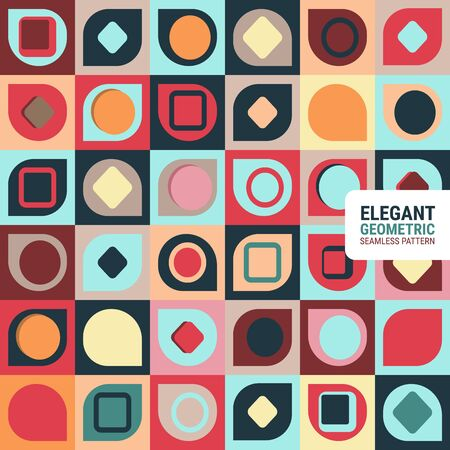 Elegant geometric seamless pattern. This is a simple vector illustration with harmonious blend of retro and modern styles. The color can be changed if needed.  イラスト・ベクター素材