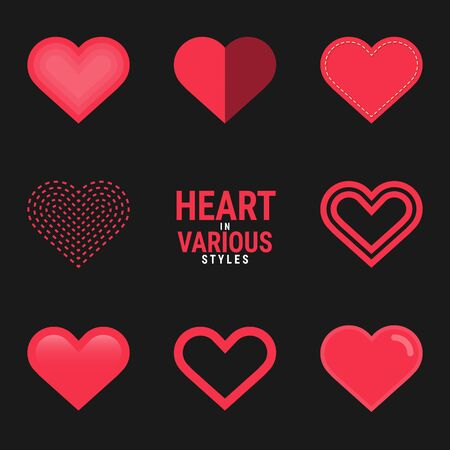 Heart in various styles created for designers in the design of all kinds of works. Beautiful and lovely Heart which can be used in many purposes. Eps10 vector.