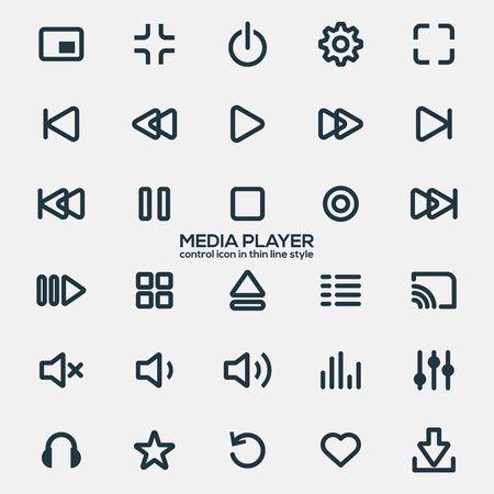 Icônes de lecteur multimédia en ligne fine pour les concepteurs dans la conception de toutes sortes d'œuvres. Icône belle et moderne qui peut être utilisée à de nombreuses fins vecteur Eps10.
