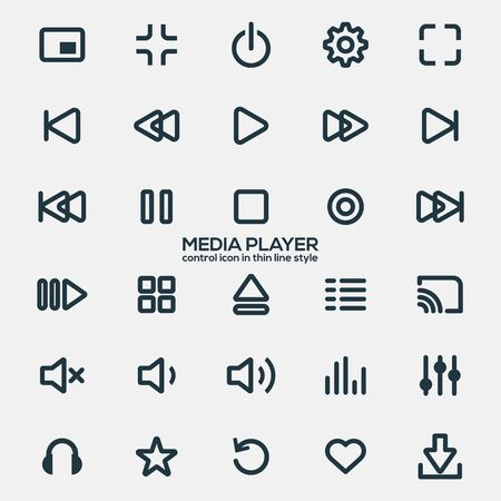 Iconos de reproductor multimedia en estilo de línea fina para diseñadores en el diseño de todo tipo de trabajos. Hermoso y moderno icono que se puede utilizar en muchos propósitos Vector Eps10.
