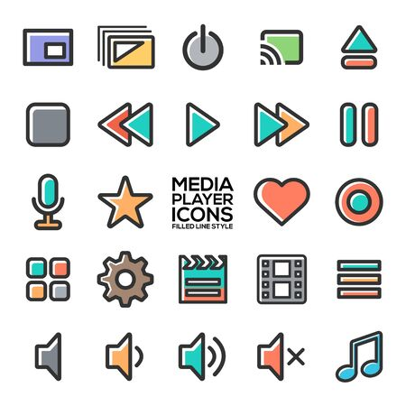 Media player icons in filled line style for designers in the design of all kinds of works. Beautiful and modern icon which can be used in many purposes Eps10 vector.