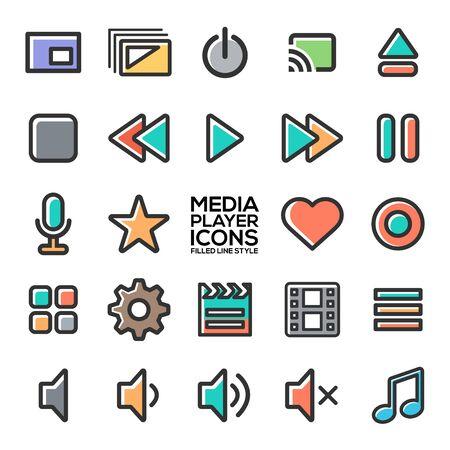 Mediaplayer-Icons im gefüllten Linienstil für Designer bei der Gestaltung aller Arten von Werken. Schönes und modernes Symbol, das für viele Zwecke verwendet werden kann Eps10-Vektor.