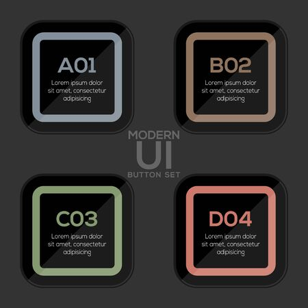 Modern user interface button set in Dark style created for designers in the design of all kinds of works. Beautiful and modern Button which can be used in many purposes. Eps10 vector.