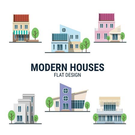 Collection of Modern houses in flat design created for designers in the design of all kinds of works. Beautiful house which can be used in many purposes. Eps10 vector. Banque d'images - 144141281
