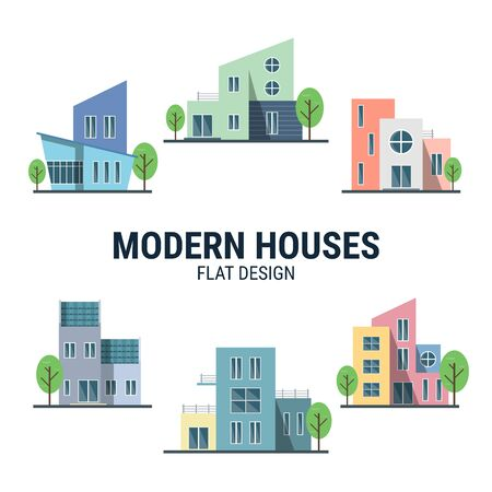 Collection of Modern houses in flat design created for designers in the design of all kinds of works. Beautiful house which can be used in many purposes.  vector. Banque d'images - 144302682