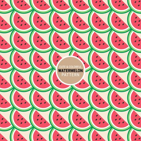Cute and colorful watermelon pattern. A seamless vector background. This is a simple vector illustration with harmonious blend of retro and modern styles.