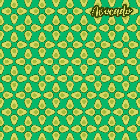 Cute and colorful avocado pattern. A seamless vector background. This is a simple vector illustration with harmonious blend of retro and modern styles. vector.
