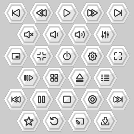 Media player control buttons set for designers in the design of all kinds of works. Beautiful and modern icon which can be used in many purposes