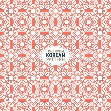 Modello tradizionale coreano. Questa è una semplice illustrazione vettoriale con una miscela armoniosa di stili retrò e moderni. Il colore può essere cambiato se necessario. Eps10 vettore.
