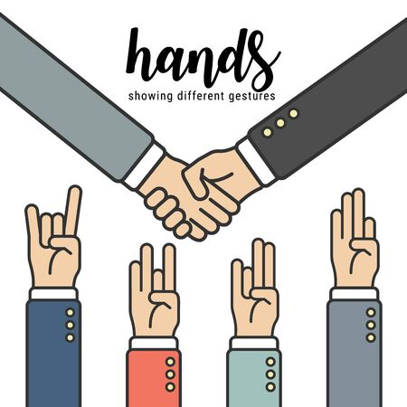 Hands showing different gestures for designers. which can be used in many purposes such as in motion graphics, infographics, presentations and more. Eps10 vector. Illustration
