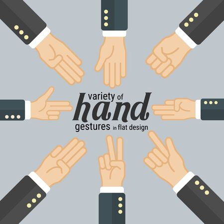 Variety of hand gestures in flat design, which can be used in many purposes such as in motion graphics, infographics, presentations and more. vector.