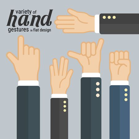 Variety of hand gestures in flat design, which can be used in many purposes such as in motion graphics, infographics, presentations and more. Eps10 vector.