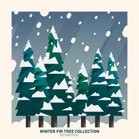 winter tree: Winter fir tree collection