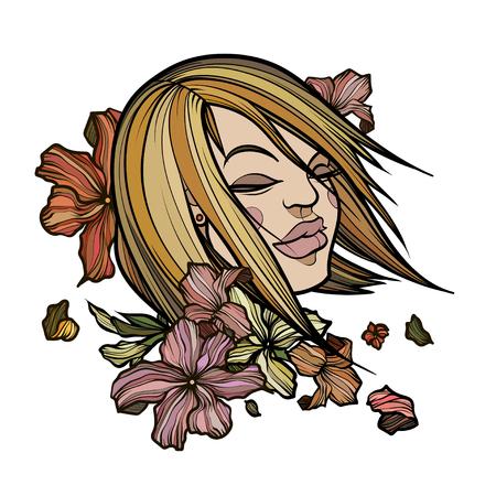 Cara de mujer hermosa con las flores abstractas