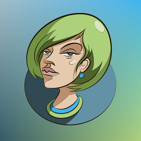 green hair: Beautiful woman face with green hair Illustration