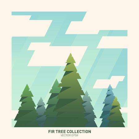 Summer fir tree collection Illustration