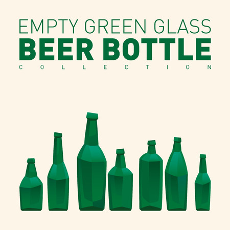 the hangover: Empty green glass beer bottle collection Illustration